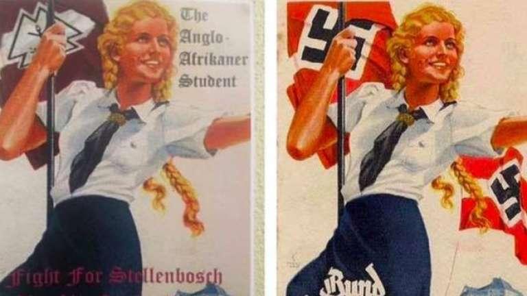 L'affiche de l'université de Stellenbosh, à gauche, et l'original nazi, à droite