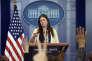 L'adjointe du porte-parole de la Maison Blanche, Sarah Huckabee Sanders, devant la presse, le 10 mai, à Washington.