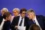 Francois Baroin, Christian Jacob et Laurent Wauquiez au siège du parti Les Républicains à Paris le 10 mai.