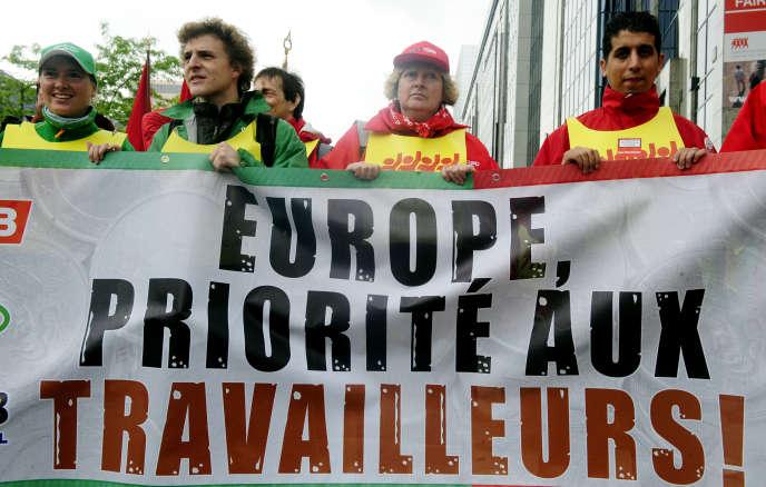 Manifestation de travailleurs à Bruxelles.