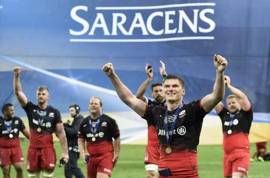 Les joueurs des Saracens après leur victoire en coupe d'Europe de rugby en 2016.