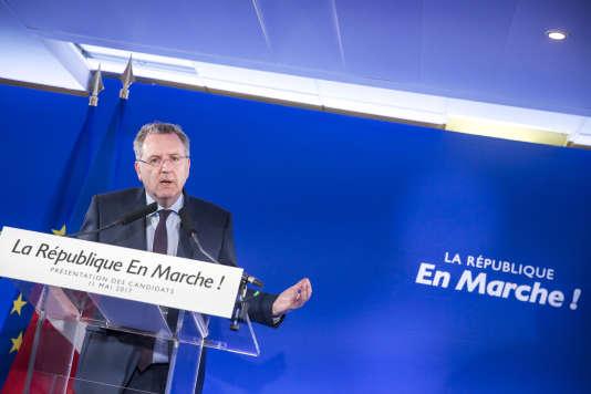 Richard Ferrand lors de la présentation d'une première salve d'investitures LRM le 11 mai à Paris.