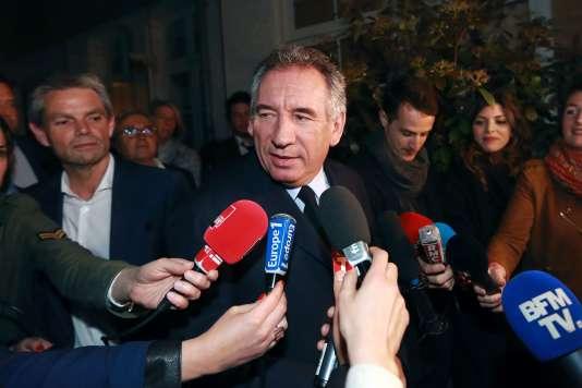 Francois Bayrou à la sortie de la réunion du MoDem, à Paris le 12 mai.