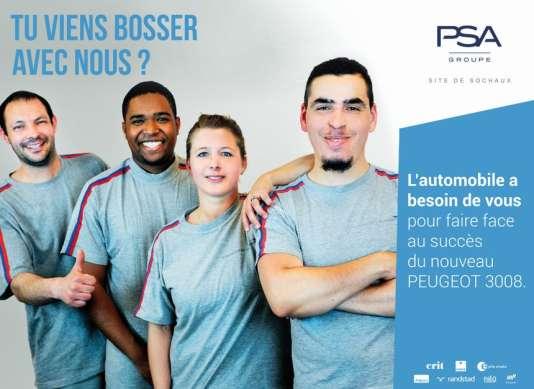 Campagne d'affichage du groupe PSA pour recruter sur le site de Sochaux.
