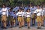 Des volontaires du Rashtriya Swayamsevak Sangh (RSS) défilent à Amritsar, en 2013.