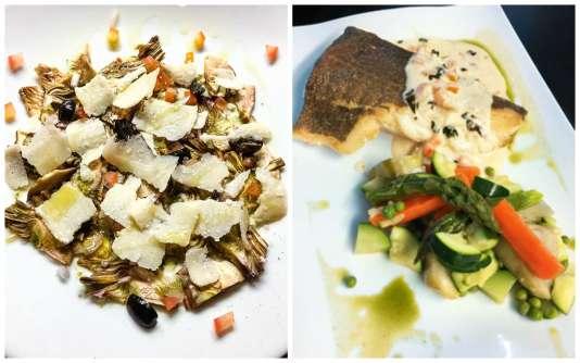 Carpaccio de petits violets et parmesan (à dr.)ou dos de cabillaud rôti au beurre blanc, basilic et ail.