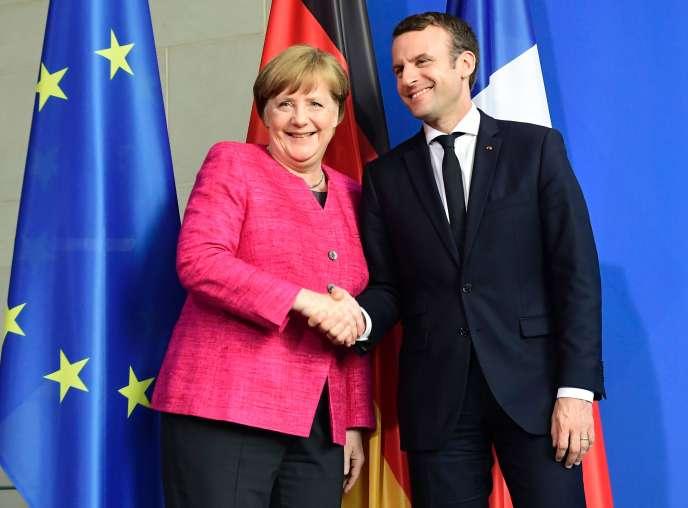 Angela Merkel et Emmanuel Macron lors de leur première rencontre à Berlin, le 15 mai 2017.