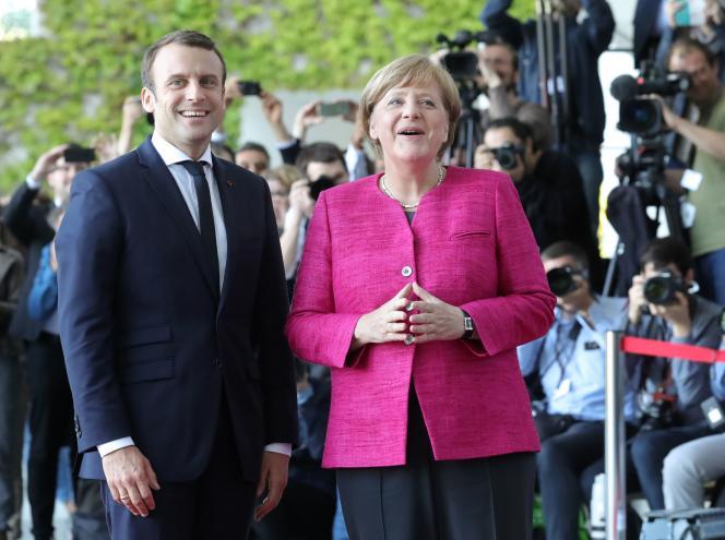 Angela Merkel et Emmanuel Macron à Berlin, le 15 mai.