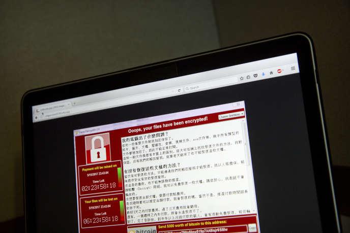 Une capture d'écran de la cyberattaque capturée par un utilisateur à Pékin, le 13 mai 2017.