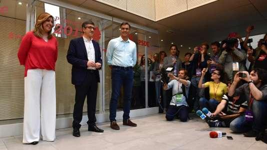 Susana Diaz, Patxi Lopez et Pedro Sanchez, le 15 mai 2017.