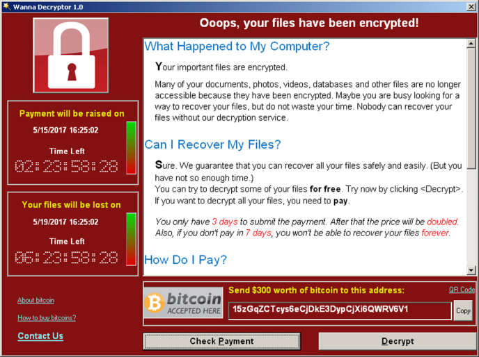 Capture d'écran d'un ordinateur infecté par le virus WannaCry.