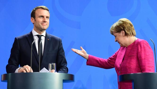 Angela Merkel et Emmanuel Macron, le 15 mai, à Berlin.
