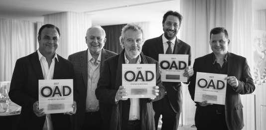 De gauche à droite :Angel Leon (Aponiente), Steve Plotnicki, fondateur d'OAD, Alain Passard (l'Arpège), Luigi Taglienti (Lume), Franck Giovannini (Restaurant de l'Hôtel de Ville).