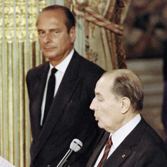 Jacques Chirac et François Mitterrand en 1988.