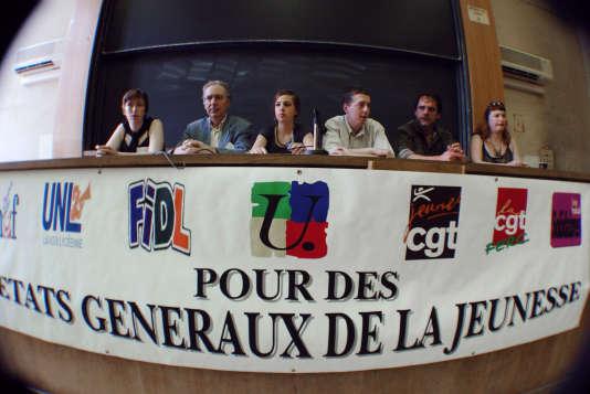 10 juin 2006, Etats généraux de lajJeunesse. A gauche de la tribune, Caroline De Haas représente l'UNEF.