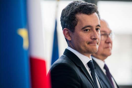 Le nouveau ministre de l'action et des comptes publics Gérald Darmanin, au ministère de l'économie, lors de la passation des pouvoirs, le 17 mai.