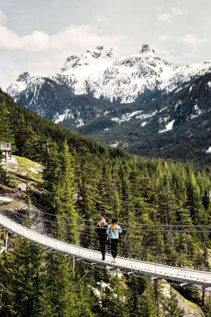 Une fois au sommet, outre de nombreux sentiers de randonnée, il est possible d'emprunter le pont suspendu Sky Pilot (page de gauche), offrant un panorama exceptionnel à 360°.