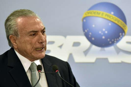 Le président brésilien Michel Temer, à Brasilia, jeudi 18 mai.