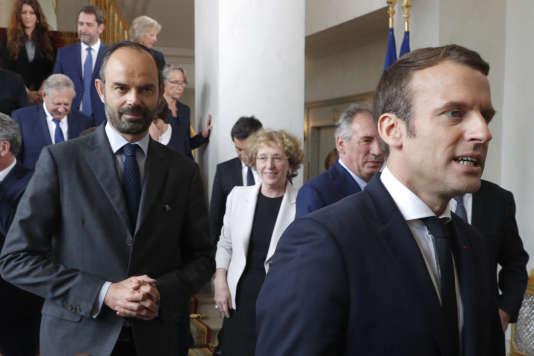 Edouard Philippe et Emmanuel Macron le 18 mai, à l'Elysée, à l'issue du conseil des ministres.