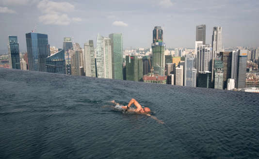 The infinity-edge pool perched in the 57th floor of the Marina Bay Sands, in Singapore, in June 2014.