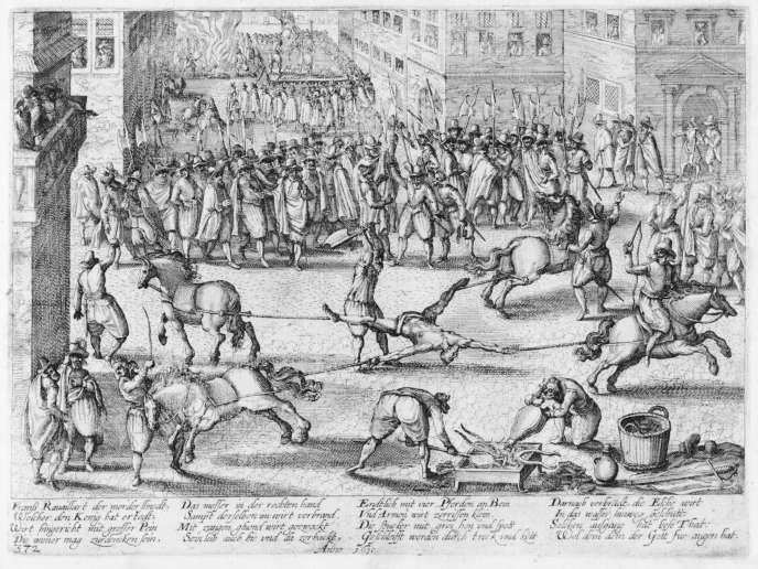 Gravure de Franz Hogenbergmontrant l'exécution de François Ravaillac en 1610.