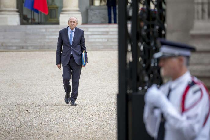 Gérard Collomb, ministre de l'intérieur, participe au conseil des ministres au palais de l'Elysée, à Paris, jeudi 18 mai 2017.