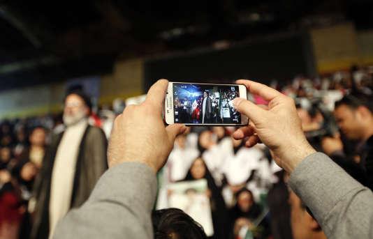Meeting du candidat conservateurà la présidentielle, Ebrahim Raisi, à Téhéran, le 29avril.