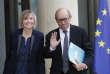 Le ministre des affaires étrangères Jean-Yves Le Drian et la ministre des affaires européennes, Marielle de Sarnez, à l'Elysée le 18 mai.
