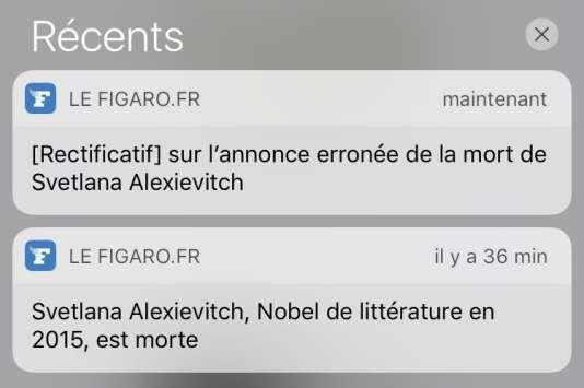 Les alertes du « Figaro » sur Svetlana Alexievitch, envoyées jeudi 18 mai.
