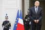 Le ministre de l'intérieurGérard Collomb lors de la passation des pouvoirs avec son prédcesseur Matthias Fekl, place Beauvau à Paris le 17 mai.