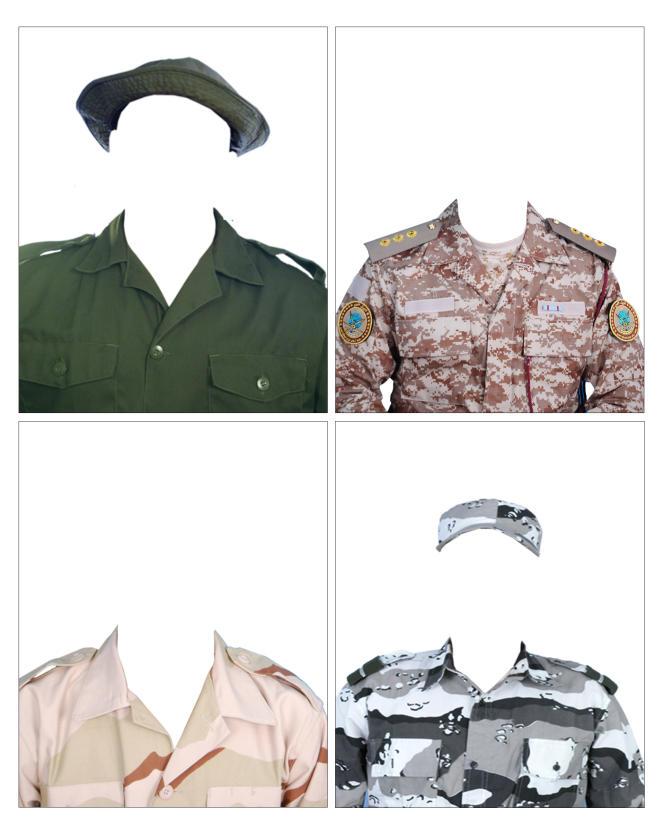 «Les Invisibles». Photographies d'uniformes servant à la confection de fausses cartes professionnelles, trouvées dans un studio photo de Tripoli en2015.