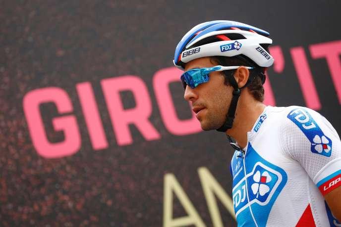 Thibaut Pinot, au départ de la 13è étape du Tour d'Italie, à Reggio Emilia.