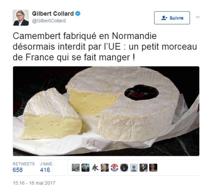 Tweet du député Gilbert Collard le 18 mai à propos du camembert.