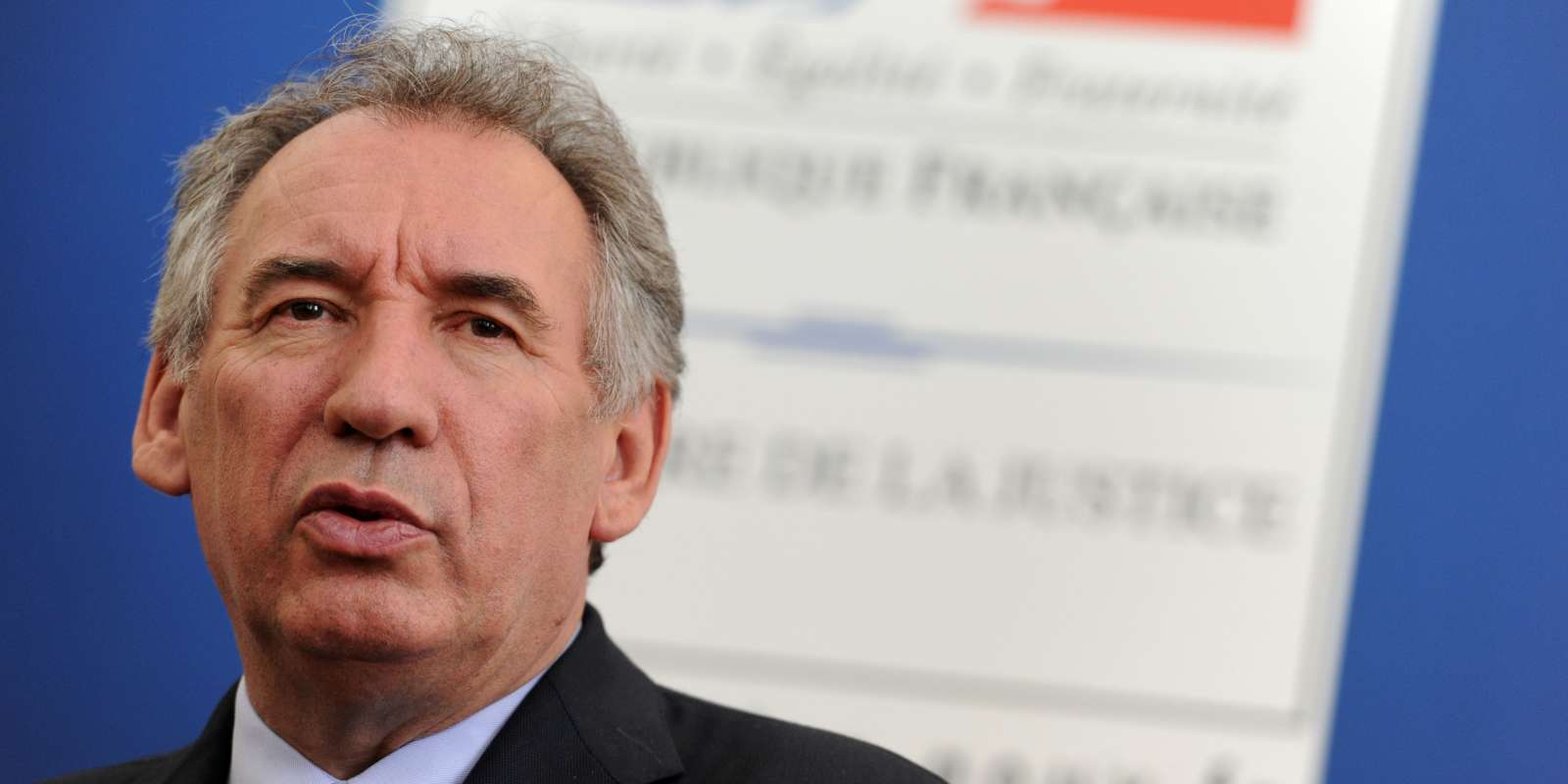 French Justice minister Francois Bayrou speaks during a press conference during a visit at Pau court house, southwestern France, on May 19, 2017. / AFP / IROZ GAIZKA