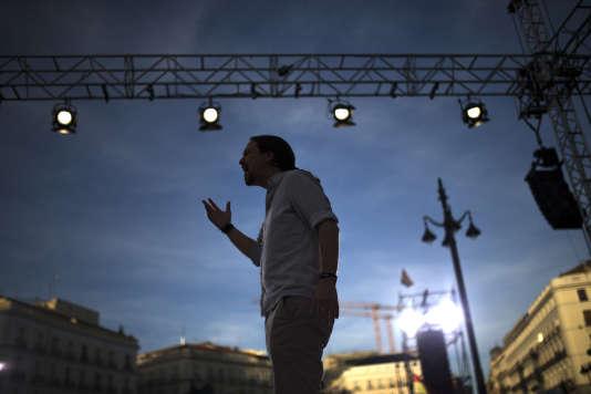 Pablo Iglesias prononce un discours à Madrid, le 20 mai.