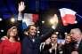 Valerie Pécresse, François Baroin, Christian Jacob et Gerard Larcher (de g. à dr.) lors de la grande réunion publique de soutien aux candidats aux législatives, à Paris, le 20 mai.