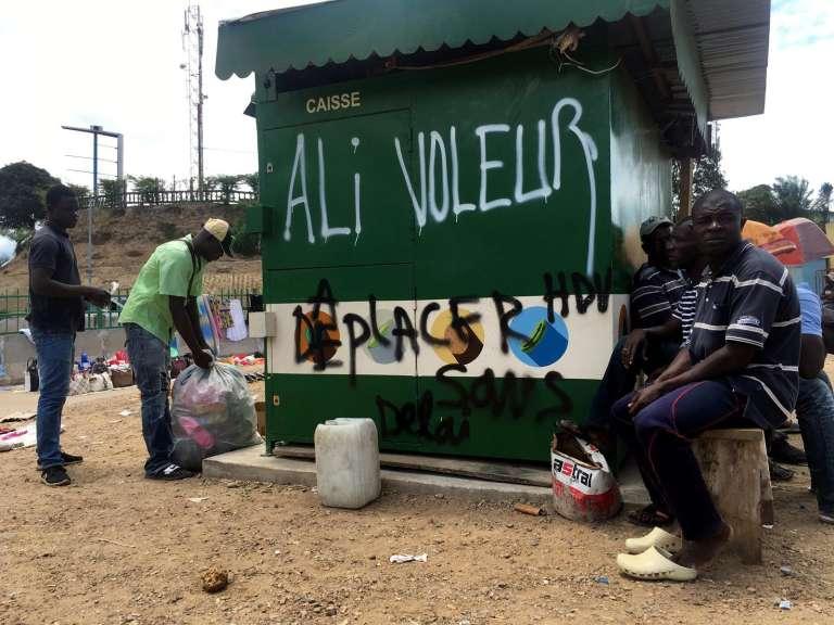 Un kiosque à Libreville, en septembre 2016