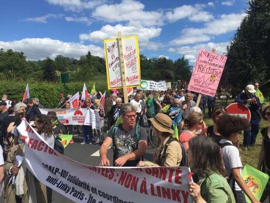 Dimanche 21 mai 2017, à Gonesse (Val-d'Oise), des manifestants espèrent que le nouveau ministre de la transition écologique et solidaire, Nicolas Hulot, mettra fin au projet d'Europa City.