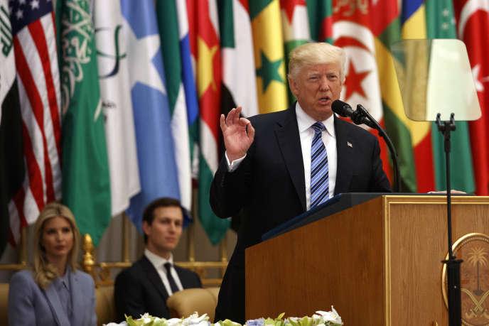 Le président américain Donald Trump lors de son discours, dimanche 21 mai 2017, à Riyad en Arabie saoudite.