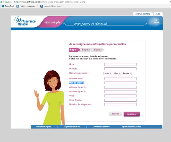 Formulaire de saisie pirate identique à celui du site officiel Ameli.fr à un détail près : la demande du mot de passe de messagerie.