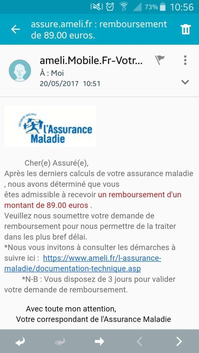 Exemple de message de tentative de phishing (« hameçonnage ») reçu sur  téléphone mobile. La vérification des liens en est plus difficile. b518d52f3d48