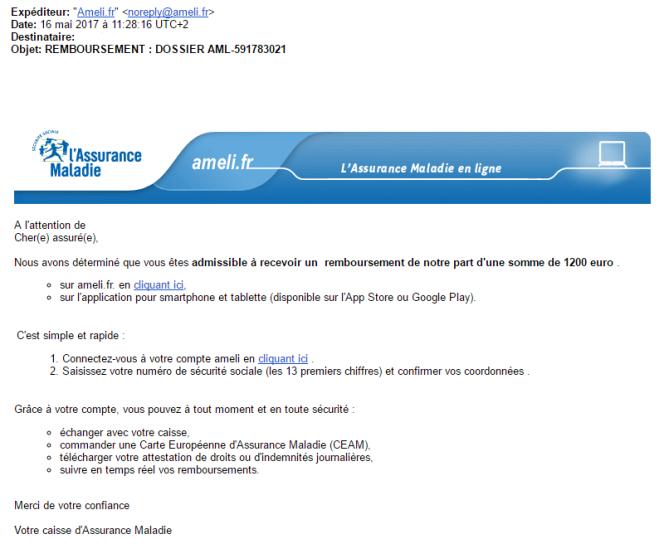 Exemple de courriel de phishing («hameçonnage») concernant le site Ameli.fr.