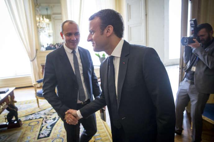Emmanuel Macron reçoit Laurent Berger (CFDT) à l'Elysée, mardi 23 mai.