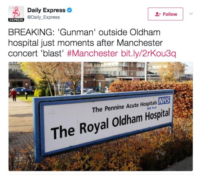 Capture d'écran du compte Twitter du «Daily Express» (réalisée par BuzzFeed).