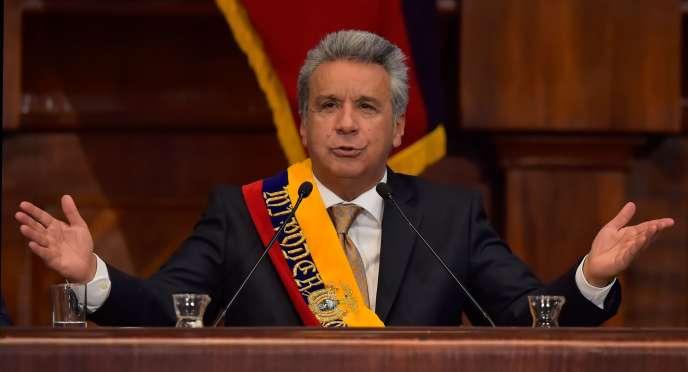 Le nouveau président de l'Equateur, Lenin Moreno, lors de sa cérémonie d'investiture, à Quito, le 24 mai.