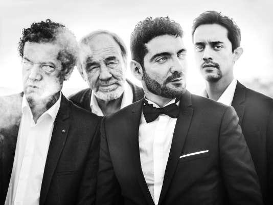 De gauche à droite : Hassan Kachach, Mohamed Djouhri, le réalisateur Karim Moussaoui et Mehdi Ramdani à Cannes, le 22 mai 2017.