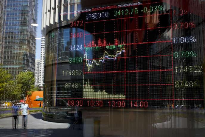 Des piétons marchent près d'un tableau électronique affichant un indice boursier dans une société de Bourse, à Pékin, le 24 mai 2017.