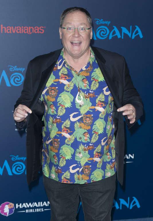 """John Lasseter, directeur artistique des studios Pixar, à la première de """"Vaiana"""", àLosAngeles, le 14novembre2016."""