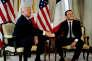«Non, le scandale n'est pas que Macron ait délivré son message en anglais et qu'il puisse bavarder avec Angela dans cette langue (...). C'est que ses prédécesseurs aient été incapables d'en faire autant» (Photo: Trump et Macron le 25 mai à l'ambassade américaine à Bruxelles).