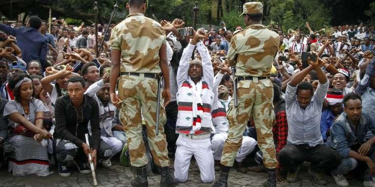 Manifestation antigouvernementale à Bishoftu, dans la région Oromia (Ethiopie), le 2 octobre 2016.